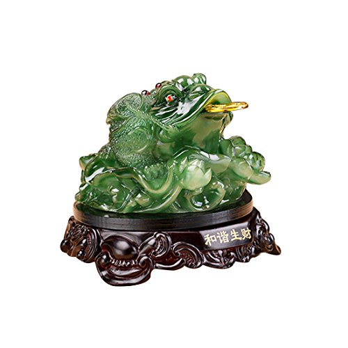 Feng Shui Fortune Coin Green Money Toad/ Frog /Chan Chu Chinese Charm of Prosperity Decoration (Prosperity Frog)