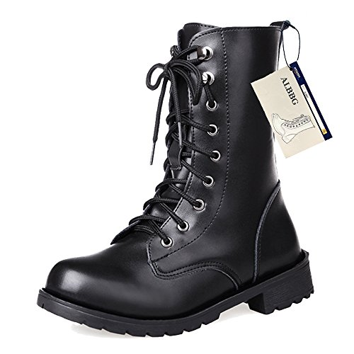 ALBBG Combat Boots Women's,Martin Rivets Booties,Lace Up Military Mid-Calf Boots Cosplay(US7.5/EU38/UK5.5/CN38/24CM, (Lace Up Combat Boots)