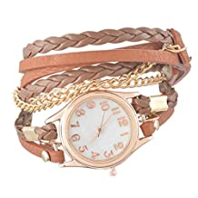Souarts Coffee Women Multilayer Weave Wrap Link Leather Bracelet Quartz Wrist Watch