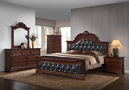 Kings Brand Antique Brown Queen Size Upholstered Bed Bedroom Set, Bed, Dresser, Mirror, Chest & 2 Night Stands ()