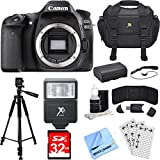Canon EOS 80D 24.2 MP CMOS Digital SLR Camera (Body) Deluxe Bundle includes Camera, Case, Tripod, 32GB Memory Cards, LP-E6 Battery, Flash, Cleaning Kit, Beach Camera Cloth and More