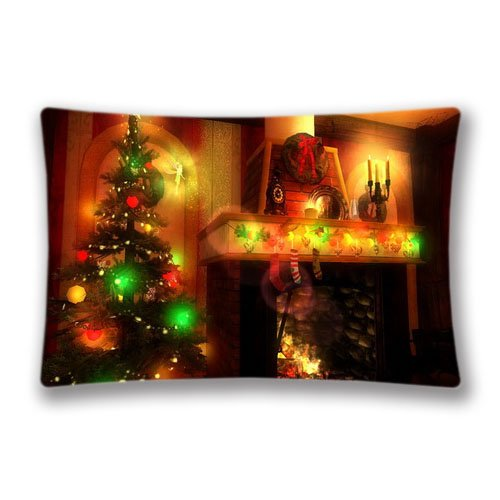 Christmas Magic 3D screensaver Standard Pillow Protector Pillow Covers Decorative Home Office Club Pillow Case Cover 20x30inch(Twin Sides) -