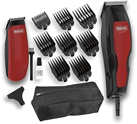 Wahl Home Pro Combo 100 - Set de cortapelos y recortadora, color negro y rojo