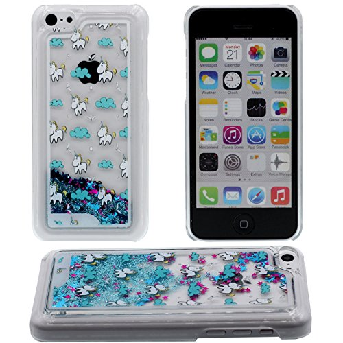 Apple iPhone 5C Coque Protection Case, Étoiles Colorful Mignon Cheval Blanc Motif Eau Liquide Style Rigide Dur Transparent Housse de protection