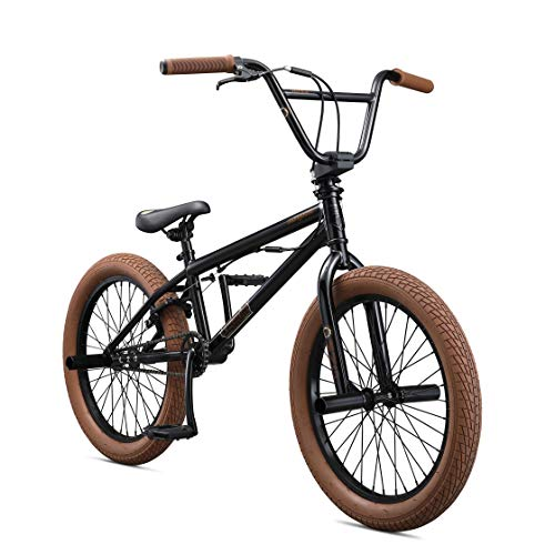 Mongoose Legion L20 Freestyle BMX Bike for Beginner Riders, Featuring Hi-Ten Steel Frame and Micro Drive 25x9T BMX Gearing with 20-Inch Wheels, Black/Brown - Freestyle Bike Bicycle