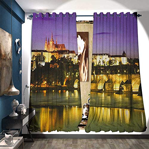 - BlountDecor Room Darkening Wide Curtains Charles Bridge Prague Czech Republic European Famous Landmark Castle View Patterned Drape for Glass Door W72 x L84 Purple Yellow Brown