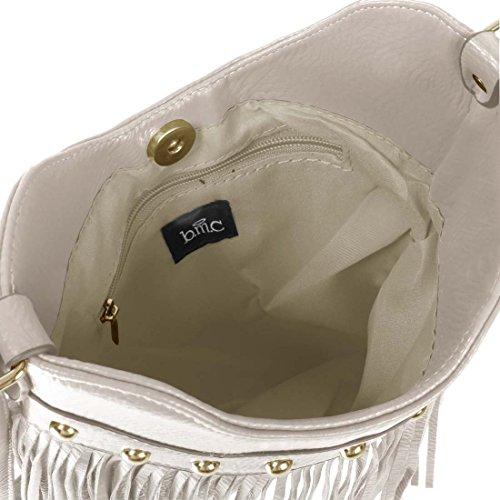 Mode Crémeux Cuir Accent Gland À À BMC Pour Main Blanc Sac Fin Pochette Femme En Faux fq0zZUw