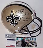 Drew Brees Autographed Hand Signed New Orleans Saints Full Size Authentic Football Helmet - with SB XLIV MVP Inscription - PSA/DNA