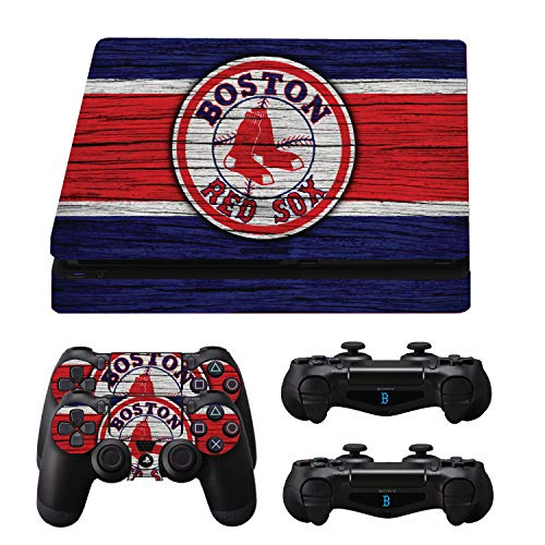(GamerGeekz® PlayStation 4 Slim Skin + 2 Ps4 Controller skins + Bonus Ps4 light bar decals Boston Wood Sox)