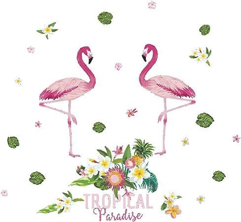 Sticker Mural Dessin Animé Frais Flamant Rose Mur Coller