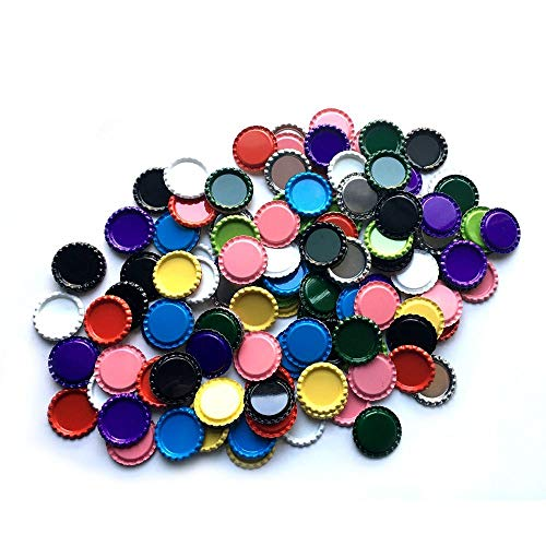 Blank Bottle Caps - HAWORTHS 100 PCS Flat Decorative Bottle CaP Craft Bottle Stickers Double Sideds Printed for Hair Bows, DIY Pendants or Craft ScraPbooks Mixed Colors(10colors)