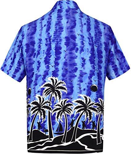 La Leela* Coupe Décontractée des Hommes Aloha Hawaïennes Manches Courtes Regular Fit Hawaiien Bleu Chemise Ble