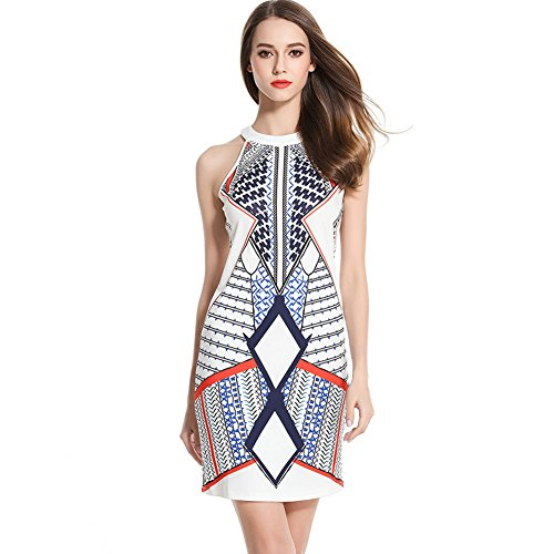 クモ道徳の打ち上げるZYHOUSE Women Fashion Print Sleeveless Retro Party Casual Short Dress