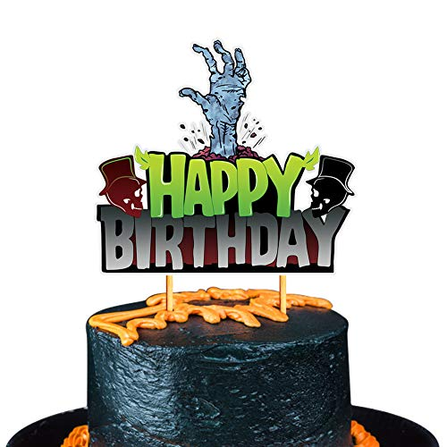 Halloween Birthday Cake Decorations (Mity rain Halloween Happy Birthaday Cake Topper - Glitter Spooky Zombie Monster Hands Cake Decoration/Adult Ceremony Kids Birthday Halloween Party)