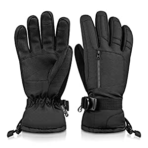 INTEY Ski Gloves Snow Winter Gloves for Men and Women Waterproof 3M Thinsulate Thermal Warm Snowmobile Gloves