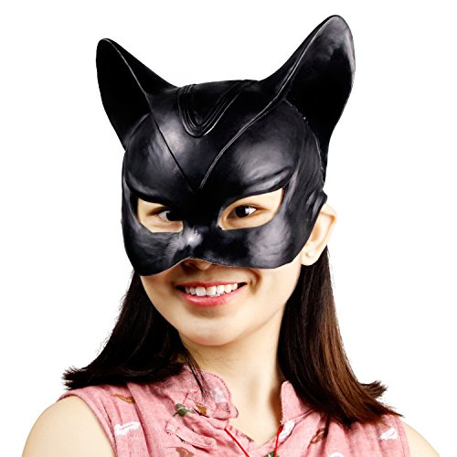 (Waylike Novelty Halloween Costume Party Cat Mask Latex Cat Woman Mask for Masquerade Balls Parties)