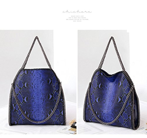 Trend donne per Snake Borse le Leopard Handbag catena a Bgold Pattern tracolla Fold ABlue a Trend nYxn0gqvF