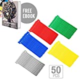 50 pcs 6 Inch Cable Straps with Premium Nylon Strap Reusable Extendable Hook and Loop Wrap | Messy Wire Fastening Cable Ties Straps Cord Manager Ultimate Organizer | Include Ebook | Multicolor