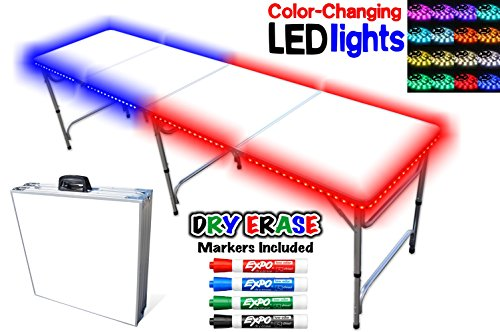 Portable Folding Table w/ Dry Erase Surface, LED Lights & Markers - Adjustable Length (8 ft or 4 ft) Adjustable Height (Kid Size & Standard Size) Party Table by PartyPongTables.com