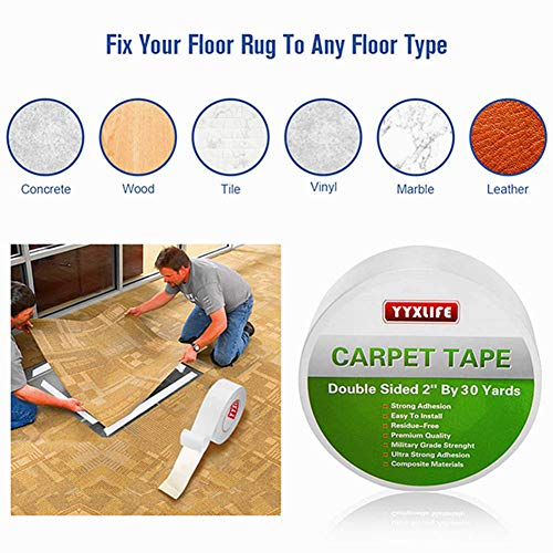 Indoors /& Outdoors Wood Safe /& Residue Free 2 Inch x 10 Yards for Area Rugs Non-Skid Heavy Duty EdenProducts Premium Double Sided Carpet Tape Mats and Carpets Industrial Strength