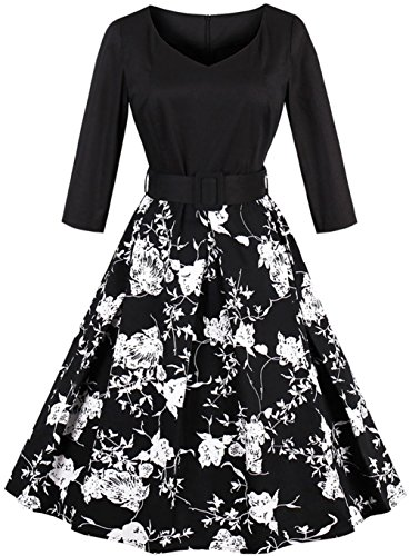 Joansam Black Autumn Elegant Dresses New V Neck Long Sleeve Floral Print With Belt Party Vintage Dress JS1553B-XL - 50s Coat