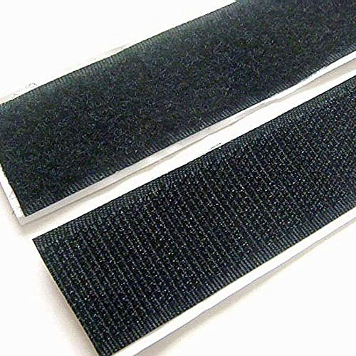 Adhesive Self Double-Sided Gum,Adhesive Hook and Loop Tape Roll Mounting Tape for Picture and Tools 33Ft … (Black-1) by QC Style