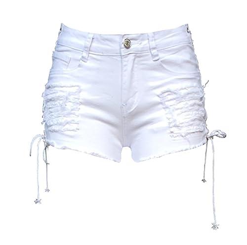 Gemijack Women's Side Lace Up Stretchy Denim Short Ripped Jean Short