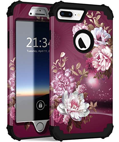 (Hocase iPhone 8 Plus Case, iPhone 7 Plus Case, Heavy Duty Shockproof Protection Hard Plastic+Silicone Rubber Hybrid Protective Case for iPhone 8 Plus/iPhone 7 Plus - Royal Purple/White Flowers)