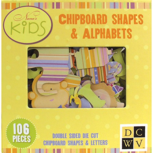 DCWV EM-025-00005 Nana's Kids Chipboard Shapes and -