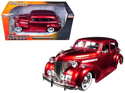 1939 Chevrolet Master Deluxe Red with baby Moon Wheels Showroom Floor 1/24 Model Car by Jada (Ground Showroom Floor)