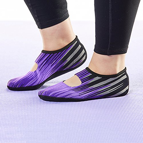 NuFoot Mary Janes Womens Shoes, Best Foldable & Flexible Flats, Slipper Socks, Travel Slippers & Exercise Shoes, Dance Shoes, Yoga Socks, House Shoes, Indoor Slippers, Purple Aurora, Small