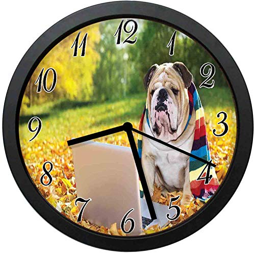 (English Bulldog Modern Decor Wall Clock-12inch Dog in The Park with a Laptop and Rainbow Colored Scarf Funny graphy,No-ticking, single battery operation, energy saving and environmental protection )