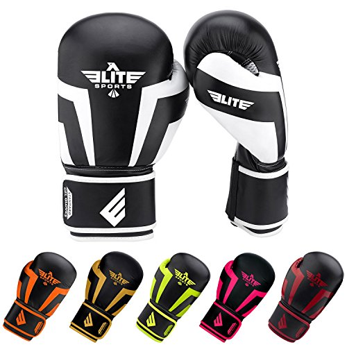 12 Ounce Boxing Gloves - Elite Sports New Item Standard Adult Kickboxing, Muay Thai Sparring Training Boxing Gloves, White, 12 oz.