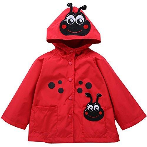 LZH Baby Girls Boys Waterproof Raincoat Windbreaker Hooded Bomber Jacket,3T For Age 2-3Y ,Red