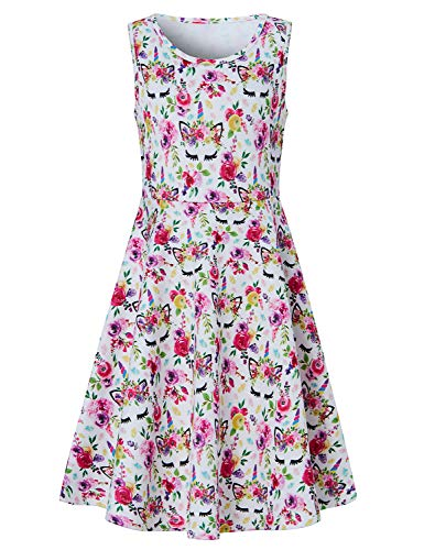 Goodstoworld Summer Dresses for Girls Unicorn Dress Sleeveless Casual Twirl Dress Rose Flower Floral Print Princess Sundress for Student Girls Swing Midi Dress 10-13 Years