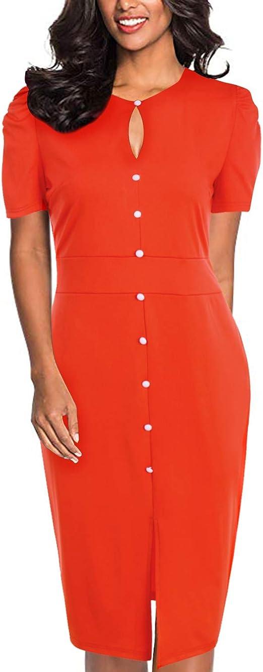 Abyoxi Damen Elegant Knopft Bodycon Etuikleider Bleistiftkleid Stretch Knielang Split Business Kleider Orange Xl Amazon De Bekleidung