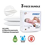 Everest 1 Mattress Encasement & 2 Standard Pillow Protectors Bundle- 100% Waterproof, Bedbug proof, Hypoallergenic, Breathable(BUNDLE DEALS, Twin XL (39''x80'') + (9''-11'') depth)