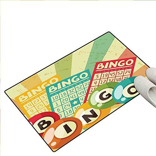 Vintage Decor Bath Mats Carpet Bingo Game with Ball and Cards Pop Art Stylized Lottery Hobby Celebration Theme Kids Carpet Playmat Rug 16
