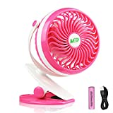 MED FAN  Baby Stroller Mini Battery Operated Clip Fan,Small Portable Fan Powered by Rechargeable Battery or USB Desk Personal Car Gym Workout Camping (red)