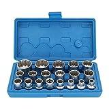 OCGIG 19 Pcs 1/2'' Drive 12 Point Universal Metric Spline Socket Set Cr-V steel 8mm-32mm