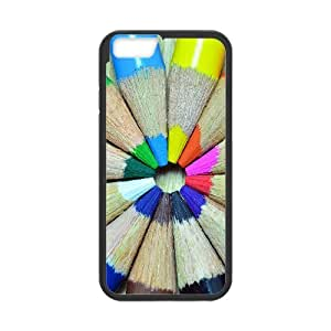 Iphone 6 Case Colorful Pencils Round by Leemarson for Black Iphone 6 (4.7)inch Screen lmar607434