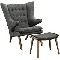 Modway Bear Lounge Chair and Ottoman in Walnut Gray