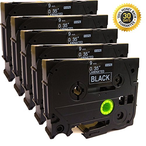 NEOUZA 5PK Compatible For Brother P-Touch Laminated Tze Tz Label Tape Cartridge 9mm x 8m (TZe-325 White on Black)