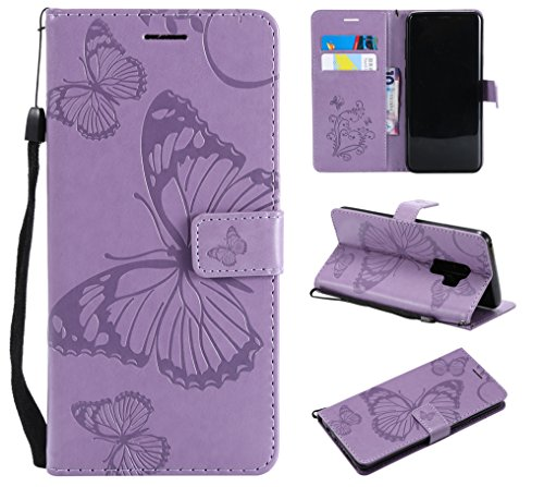 Price comparison product image Galaxy S9 Plus Case, Galaxy S9 Plus Wallet Case, S9 Plus Case with Card Holders, Folio Flip PU Leather Butterfly Case Cover with Card Slots Kickstand Phone Case for Samsung Galaxy S9 Plus, Light Purple