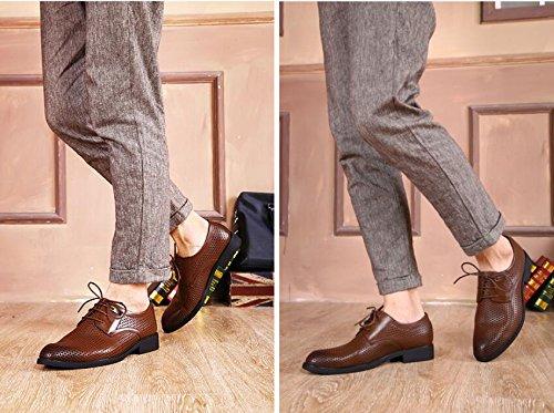 Hommes Affaires en Cuir Chaussures Robe Chaussures Maille Respirante Dentelle Noire Anti-Dérapant Chaussures de Mode Sandales Brown jFmN86