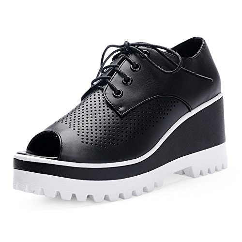 verano peces boca zapatos mujeres/Zapatos del alto talón/zapatos de plataforma hueco/sandalias cómodas/Zapatos de mujer romana plataforma aumenta B