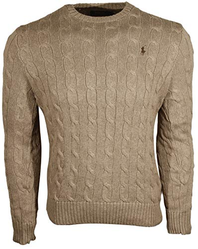 Polo Ralph Lauren Mens Cable-Knit Crew Neck Sweater (X-Large, Natural (Brown Pony))
