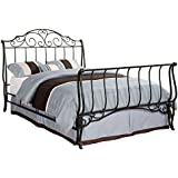 Inspire Q Camelia Graceful Scroll Bronze Iron Sleigh Bed Classic Queen