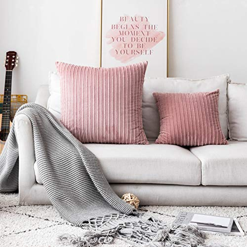 UGASA Decor Soft Solid Velvet Toss Throw Pillow Cover Fashion Striped Decorative Pillow Case Handmade Cushion Cover for Couch, 1 Pc, 24x24 inches, Baby Pink ()