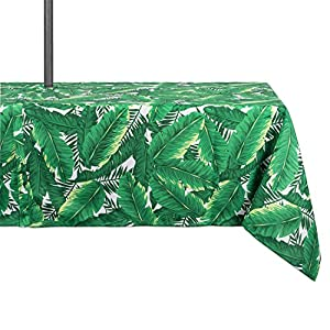 "DII 100% Polyester, Spill proof and Waterproof, Machine Washable, Outdoor Tablecloth With Zipper and Umbrella Hole, 60x84"", Banana Leaf, Seats 6 to 8 People"